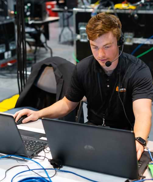San Diego Convention Center Audio Visual Technician at Workstation