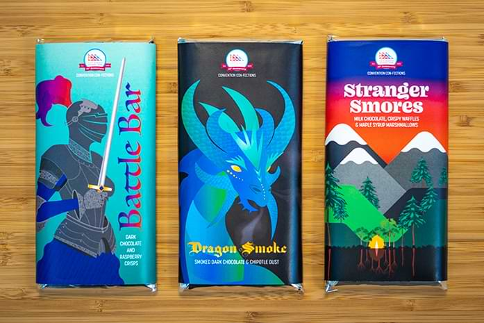 Three new bars for comic-con are displayed. They are the Battle Bar, Dragon Smoke and Stranger Smores