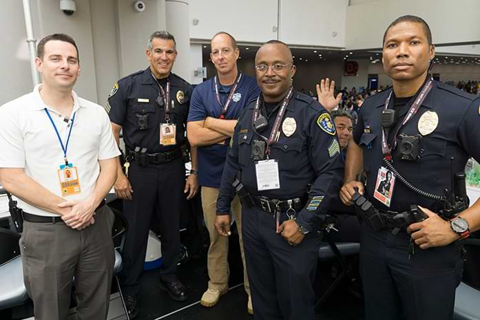 Todd Temple working Comic-Con in 2017 with SDPD and former Director of Security Josh Layne