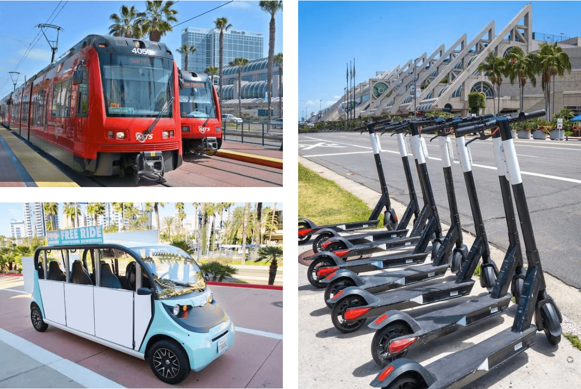 Clockwise from top left: MTS Trolley has two stops in front of the Convention Center; dockless scooters are often available nearby and can be rented via mobile apps; Free Ride Everywhere Downtown (FRED) is a fun and convenient way to get around - for a ride, flag them down anytime you see the vehicle.