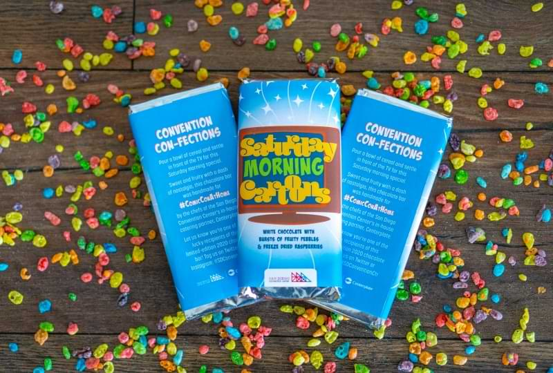 Photo of three chocolate bard display the Saturday Morning Cartoons wrapper, showing both the front and back.