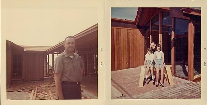 Left: Ward Deems in front of La Jolla home during construction.  Right photo:  Sherry with her father Ward and older sister Lyn in their childhood La Jolla Home.