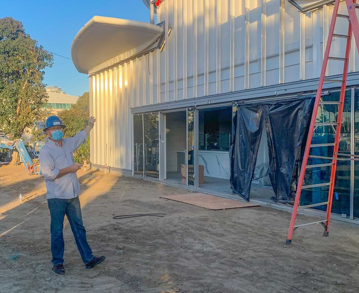 Bobby Ramirez points out the partially constructed cafe